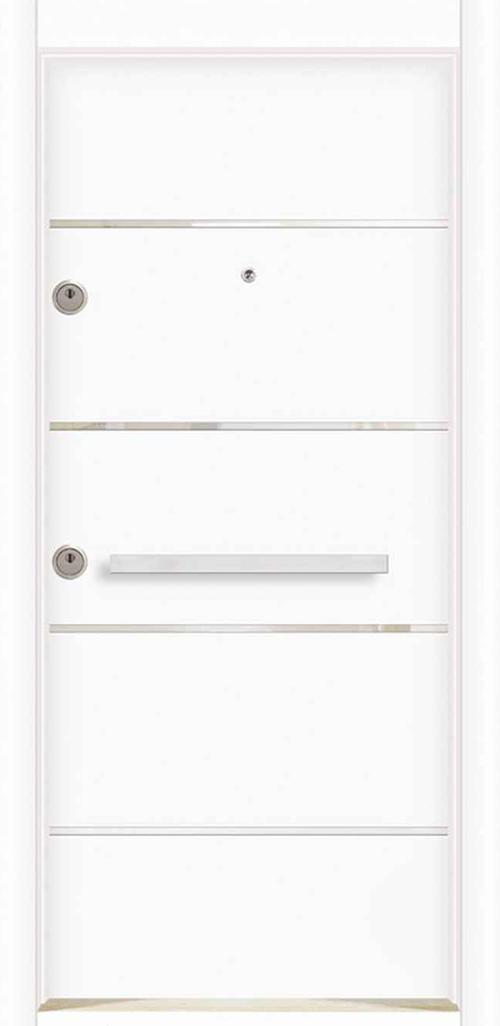 Входна врата за външни условия LP12 90 см. дясна - инокс бял