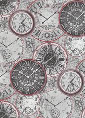 Тапет Prime Time 6435-06 черв.-сиви часовници