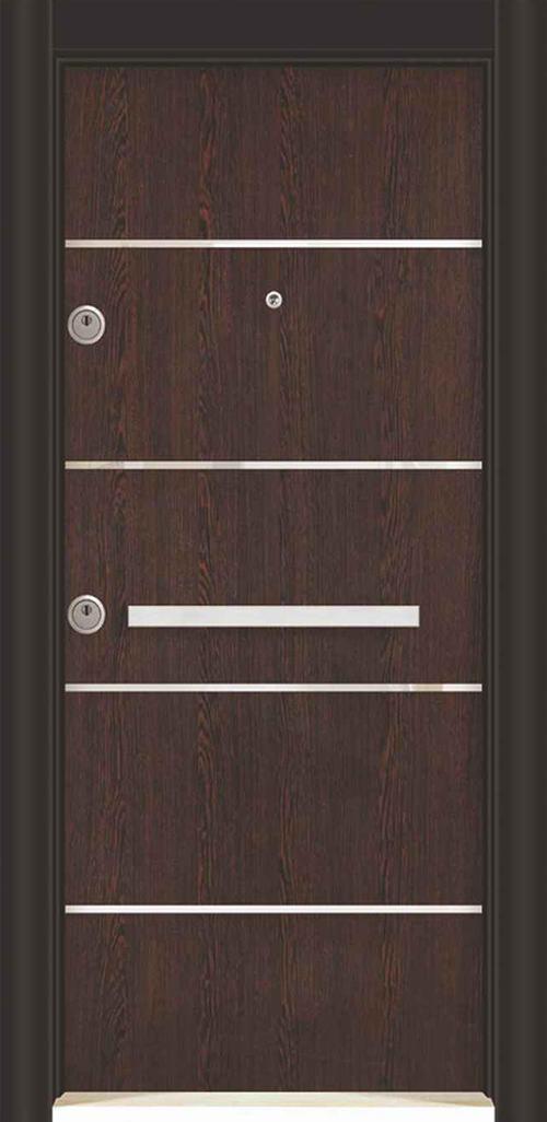 Входна врата за външни условия LP12 90 см. дясна - инокс венге