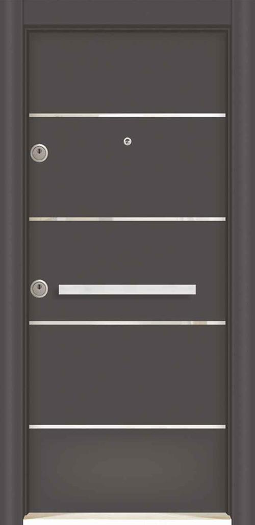 Входна врата за външни условия LP12 90 см. дясна - инокс антрацит